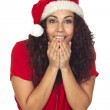 Excited pretty woman in Christmas — Stock Photo #16949187