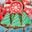 Delicious cookies with Christmas shapes — Stock Photo