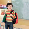 Student boy with a red backpack  — Stock Photo