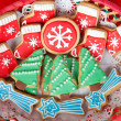 Delicious cookies with Christmas shapes - Stock Photo