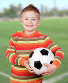 Student little child with soccer ball — 图库照片