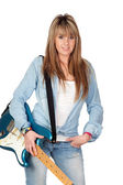 Attractive girl with electric guitar — Stock Photo