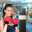 attractive girl practicing boxing — Stock Photo