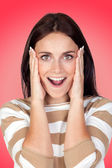 Surprise brunette girl — Stock Photo