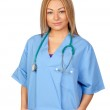 Attractive doctor with blue uniform — Stock Photo