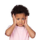 Sad latin child with headache — Stock Photo