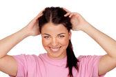 Surprised brunette girl laughing — Stock Photo