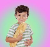 Child with bread under the arm — Stock Photo