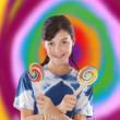 Girl with lollipops - Stock Photo