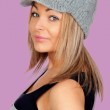 Attractive woman with a grey wool bonnet — Stock Photo #20079963
