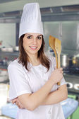 Chef in the restaurants kitchen — Stock Photo