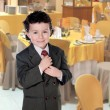 Stock Photo: Elegant little boy clutching his tie in restaurant