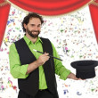 Happy magician with his barite - Stock Photo