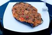 Tasty dish of eggplant with tuna — Стоковое фото