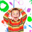 Stock Photo: Surprised painted child