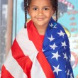 Afro-American girl with a American flag — Stock Photo