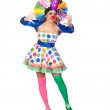 Funny girl clown with a big colorful wig — Stock Photo