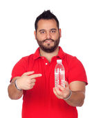 Bearded young men with a water bottle — Stockfoto