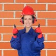 Happy woman industrial worker — Stock Photo