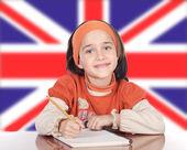 Linda garota feliz estudando — Foto Stock