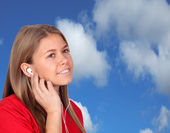 Casual Young Girl Listening Music — Stock Photo