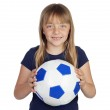 Постер, плакат: Adorable little girl with soccer ball