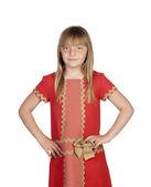 Adorable child with a elegant red dress — Zdjęcie stockowe