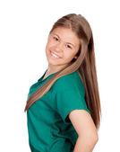 绿色 t 恤的漂亮年轻女孩 — 图库照片