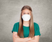 Allergic teen with face mask — Stock Photo