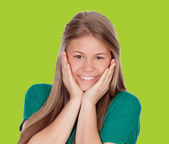 Beautiful young girl with green t-shirt — Stock Photo