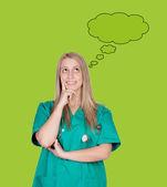 Pensive medical girl — Stock Photo