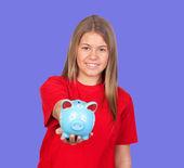привлекательная девушка с денежным ящиком — Стоковое фото