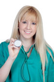 Young nurse with long hair — Stock Photo