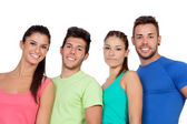 Happy friends with colored sportswear — Stockfoto