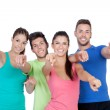 Happy friends pointing — Stock Photo