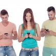 Friends with mobiles — Stock Photo