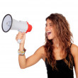 Attractive girl with a megaphone — Stock Photo