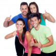 Group of friends with fitness clothes saying Ok — Stock Photo