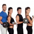 Group of friends with dumbbells — Stock Photo