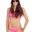Attractive woman with pink swimwear and sunglasses — Stock Photo #31304875