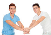 Couple of best friends shaking hands — Stock Photo