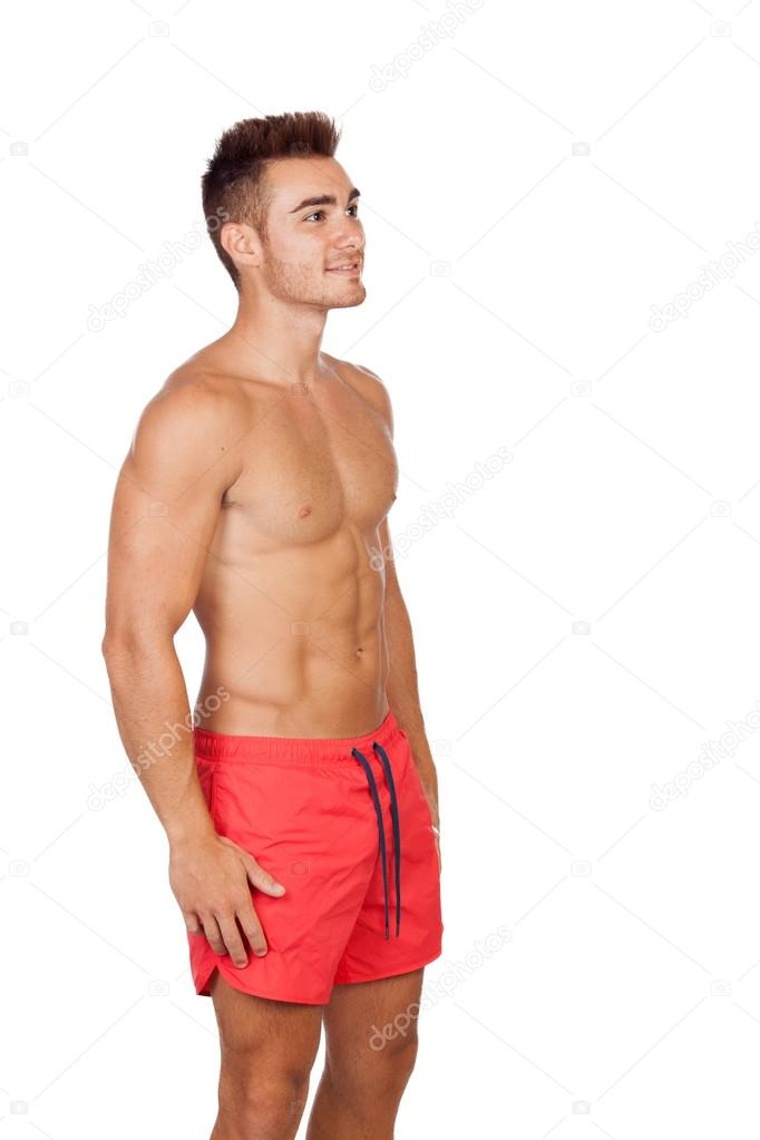 Traje De Baño Rojo Andrea: Socorrista guapo con traje de baño rojo — Imagen de stock #31304753