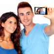 Couple weds getting a photo — Stock Photo
