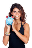 Casual girl with a blue piggy-bank — Photo