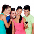 Funny friends looking at mobile — Stock Photo