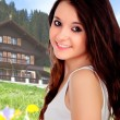 Pretty teenage girl in a nice house for the weekend — Stock Photo