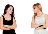 Two teen sisters isolated — Stock Photo