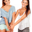 Couple of girlfriends with hands together — Stock Photo #32120977