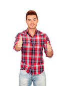 Attractive guy with spiky hair saying Ok — Stock Photo