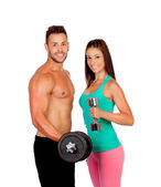 Attractive couple training — Stockfoto